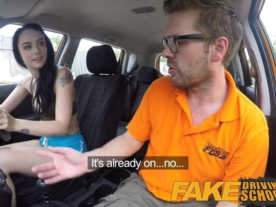 Fake Driving School Gamer babes pussy covered in cum