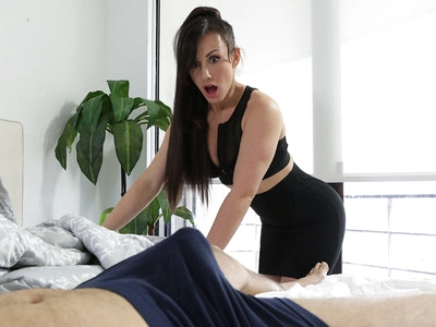 Jennifer White's clothes are barely able to cover her tits and ass as she fusses over her stepson Damon Dice. He can tell she's not wearing a miniskirt as she waves her bottom at him. When she leans over to give his hair a trim, her big boobs hang without a bra. Her nipple even slips out of her shirt, giving Damon a show. Later, Jennifer takes it upon herself to help Damon in the bathroom by licking, sucking, and stroking his stiffie until he cums in her mouth so it's not uncomfortably hard anymore.The next morning, Jennifer tries to get Damon out of bed for school. When he won't get up, she rips the covers off only to be confronted by his morning wood. Knowing that her stepson can't go to school like that, Jennifer decides to help him out once again. She starts by giving him another blowjob, but that's not enough to get him off this time.Hiking her miniskirt up, Jennifer climbs on top of Damon and starts riding his fuck stick in her landing strip fuck hole as her big boobs sway in front of him. Then she gets on her knees so Damon can take her from behind, pounding away at her greedy twat. When she rolls onto her back, Damon drives her to a big climax and then takes his own pleasure by filling his stepmom up with a creampie of jizz.