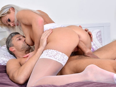 Returning hot mom Kathy Anderson is excited to get her cock hungry pussy pounded. Watch her seduce her guy with lingerie and stockings as she enjoys a deep throat BJ. When she climbs om top to ride her stud to climax then takes a face full of cum you'll wish you were there!