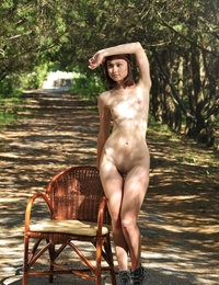 Posing naked outdoor