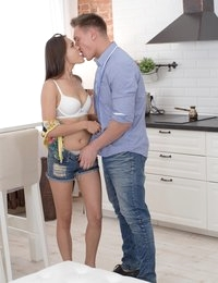 Brunette enjoys fresh sperm