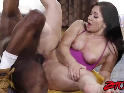 Interracial slamming with Lea Lexis and massive black cock