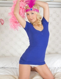 Busty blue eyed girl show the way how to obtain more from naughty game involving very sexy striptease. Join the nasty fun.