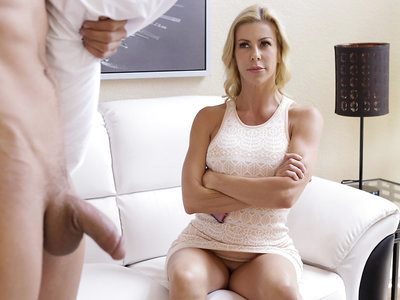 When Xander Corvus starts sleepwalking, the only way to wake him up is to make him cum. That duty falls to his stepmom, Alexis Fawx. The first time Xander sleepwalks, Alexis corners him on the stairs and then starts rubbing his balls while sucking his cock. It's not long before Xander fills her mouth with a shot of cum and wakes up.The next time the busty housewife is called upon to help her stepson, it's at the end of a long day. Alexis is unwinding with a glass of wine as her short miniskirt hikes up to reveal her thong. She's just starting to rub her big boobs when Xander stumbles in. This time Alexis puts her huge bazongas to work by giving Xander a titty fuck. When that doesn't wake him, Alexis leads him to bed and climbs aboard to give him a stiffie ride in her landing strip fuck hole. That finally wakes him up, and Alexis really gives him a wild ride once he's an active participant.Turning around, Alexis mounts Xander's stiffie in reverse doggy style so that he can piston in and out of her juicy fuck hole while playing with her enhanced breasts. Then she gets on her knees for a doggy style pussy pounding before falling to her side so that Xander can bring her off as he spoons behind her. Alexis's pulsing pussy milks the cum right out of Xander as he fills her with a creampie of jizz.