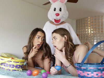 Lucas Frost can't help but notice how hot hot hot his stepsister's friend Alex Blake is! She catches him masturbating while spying on her as she puts on a thong and shorts. While Alex doesn't mind, Lily Adams sure does! Totally insulted, Lily berates Lucas until he leaves in shame. Later, the girls find an Easter egg hunt set up as a surprise for them. They run around collecting the eggs, and eventually Alex leaves to search the bedroom. There, she finds Lucas dressed as a bunny with his hard dick out for her to play with. Alex is quick to get on her knees so she can stroke and suck Lucas's hardon. Then she pulls down her shorts and gives him a stiffie ride as she uses Lucas's fuck stick for both of their pleasure. They both enjoy themselves thoroughly until Alex hears Lily coming. She hops off Lucas's cock and runs to join her friend in Lily's bedroom.Not about to let Alex go that easily, Lucas approaches the girls as they lay down on the bed and slides into Alex's creamy twat from behind. When Lucas moves on to lift Lily's miniskirt and take her from behind, Lily believes her costumed lover is her stepdad. She enjoys Lucas's secret ministrations, kicking off a threesome with her friend and stepbrother until he fills her fuck hole with a creampie of cum. Only then does Lily realize who is actually banging her as she gets an unpleasant surprise.