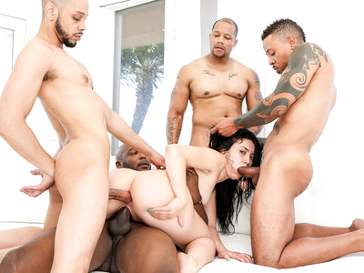 Horny slut Mandy Muse gets gangbanged in all her holes.