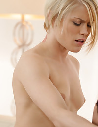 Seductive blonde Ash Hollywood swallows her lovers cock before climbing on top to feel him deep in her craving pussy