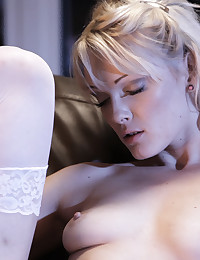 Blonde babe Zoey Paige spends an evening alone on her knees so she can finger fuck her needy shaved pussy