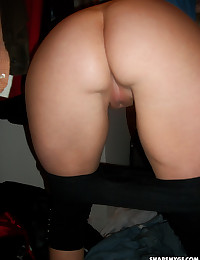 Chubby girlfriend shows off her tight little pussy when she pulls down her yoga pants