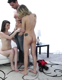 Blonde spinner Dakota Skye interviews juicy Aspen Ora and has her fuck and suck for a spot on Nubiles