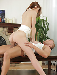Luscious Russian Serptente Edita directs her man to eat out her creamy bald pussy and give her snatch a raunchy pounding