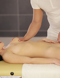 Raven haired coed Luna Ora enjoys an erotic massage that leads to a juicy blowjob and a slick wet bald pussy pounding
