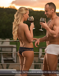 Kiara and Ridge are spending some quality time together and that means a few things... good wine and good sex. O.K., great sex. :) These two are really in tune with each other. Ridge knows just what to do to Kiara's body to make her wet and ready and Kiara is more than happy to show her man just much she appreciates it. She really loves sucking on his cock just before it gets hard because she wants to be the one to get it hard before he takes her inside and fucks her sweet, tight little pussy. She's been aching for it and when he's finally inside of her, it feels so good she can hardly stand it. She loves how his cock feels inside of her, no matter the position. As long as he is inside of her she is happy. Come on in and see for youself what happens when the sun goes down...