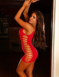 Curvy Alluring Vixen babe Lexy shows off in a skimpy slutty tight red dress with rips in all the right places