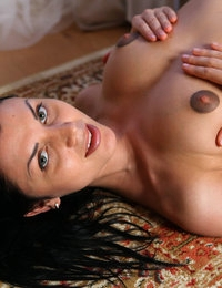 Beautiful Macy with adorable tits demonstrates her nicely trimmed twat