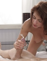 Russian cutie Sandra Wellness gets her bare pussy fucked hard then drops to her knees for a cum swallowing blowjob