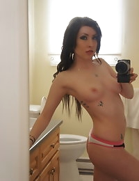 Cute girl with tattoos takes self shot pictures of herself in the mirror for her boyfriend photo #6