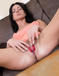 Dark haired babe pisses all over the table photo #9