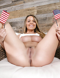 All American brunette shows her Memorial Day pride  and fucks her hero like a good patriot. photo #1