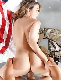 All American brunette shows her Memorial Day pride  and fucks her hero like a good patriot. photo #10