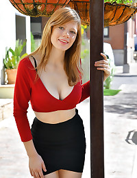 Upskirt In Red photo #3