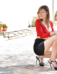 Upskirt In Red photo #7