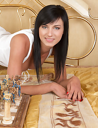 Sexy chess game with brunette photo #1