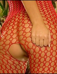 Big Tits Fox in Red Fishnet Bodystocking n Crotchless photo #2
