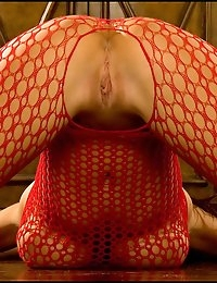 Big Tits Fox in Red Fishnet Bodystocking n Crotchless photo #4