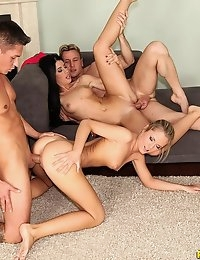 "EuroSexParties â""¢ - April Blue Fit and fine European petite babes juicy asses go anal photo #9"