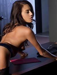 Janice Griffith slowly removes her sexy outfit photo #15